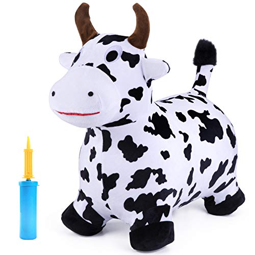 (iPlay, iLearn Cow Hopping Horse, Outdoors Ride On Bouncy Animal Play Toys, Inflatable Hopper Plush Covered with Pump, Activities Gift for 2, 3, 4, 5 Year Old Kids Toddlers Boys Girls)