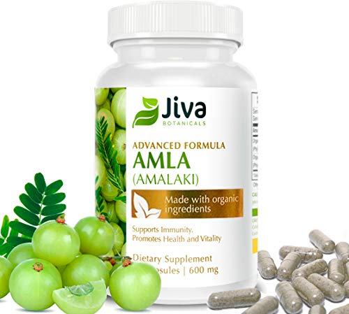 Organic Amla Powder Capsules - 600 mg Extract Formula - Potent Antioxidant, High in Organic Vitamin C - Amalaki, by JIVA BOTANICALS (Best Vitamin C Tablets In India)