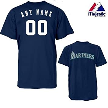 best service 22407 d64c5 Majestic Athletic Seattle Mariners Personalized Custom (Add Name & Number)  100% Cotton T-Shirt Replica Major League Baseball Jersey