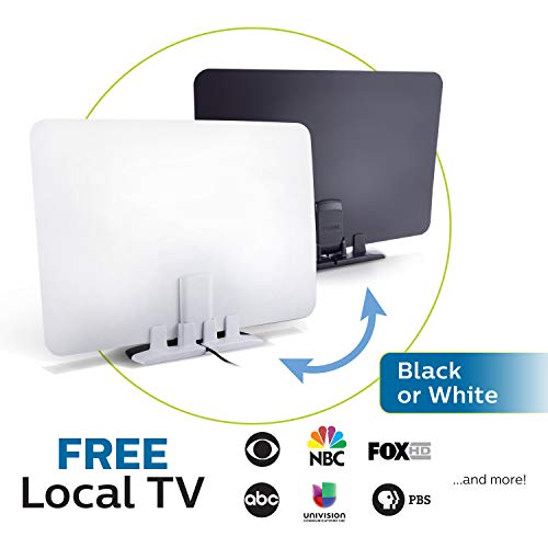 Philips Indoor Switch TV Antenna, Reversible Black White Finish, Perfect Home Decor, Long Range Digital HDTV Antenna, Smart TV Compatible, 4K 1080P VHF UHF, 10ft. Coaxial Cable Included, SDV2227N/27