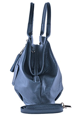 Leather Blue Genuine in Woman'S Handbag Night GIADA BORDERLINE Made 100 Italy qOanZU1