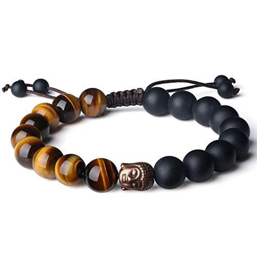 COAI Buddhist Reiki Healing Matte Onyx Tiger Eye Prayer Stones Bracelet ()