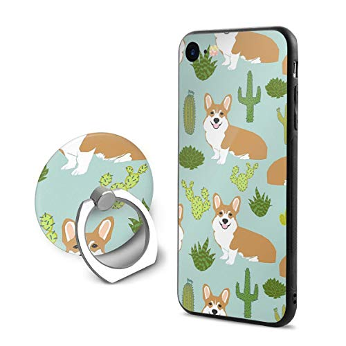 Cute Corgi and Cactus iPhone 7/8 Phone Case with Ring Holder Shockproof Protective Bumper 360 Degree Rotation Ring Stand]()