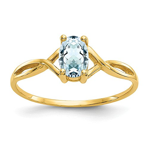 14k Yellow Gold Blue Aquamarine Birthstone Band Ring Size 7.00 March Oval Fine Jewelry Gifts For Women For Her