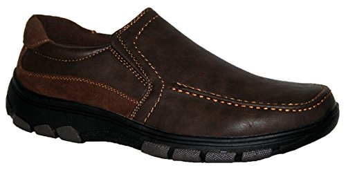 Hombre Cushion Walk ligero, zapatos de Casual Slip On y Touch cerca Bar correa brown slip on
