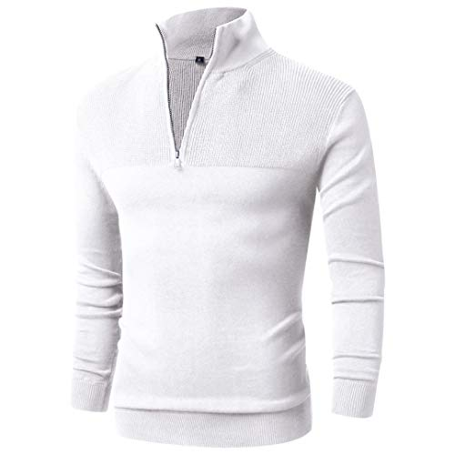 LTIFONE Mens Slim Fit Zip Up Mock Neck Polo Sweater Casual Long Sleeve Sweater and Pullover Sweaters with Ribbing Edge(White,XL