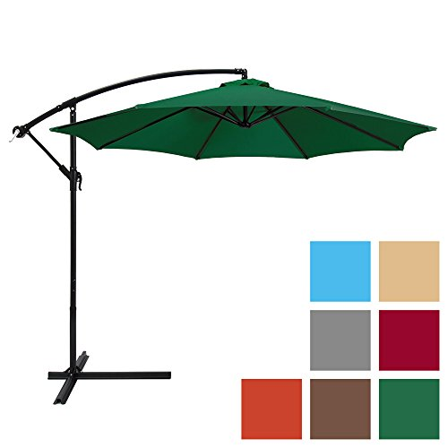 Best Choice Products 10ft Offset Hanging Market Patio Umbrella w/Easy Tilt Adjustment, Polyester Shade, 8 Ribs for Backyard, Poolside, Lawn and Garden - Green