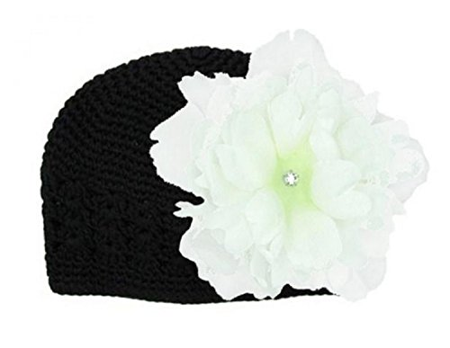 (Jamie Rae Hats Black Crochet Hat with White Large Peony, Size: 12-18m)