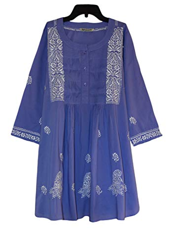 Ayurvastram BIBAB Pure Cotton Hand Embroidered Tunic Boho Top Kurti : Periwinkle: Size 14