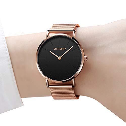 Ultra Thin Wrist Watches for Women,Minimalist Black Watch Women,Rose Gold Dress Watch Black Dial,Simple Watches for Women,Fashion Lady Quartz Watches,Women's Classic Ultra-Thin Wrist Watches