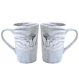 Bosmarlin Marbling Ceramic Coffee Mug,380 ml(Greyhigh-2 Pack)