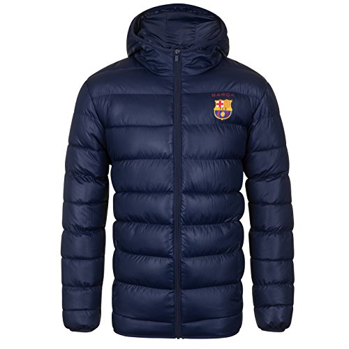 FC Barcelona Official Soccer Gift Mens Quilted Hooded Winter Jacket supplier