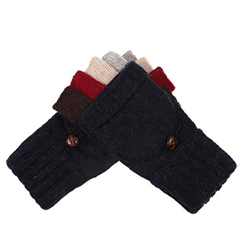 Diamondo Women Knitted Fingerless Winter Autumn Cashmere Soft Warm Gloves (Navy Blue