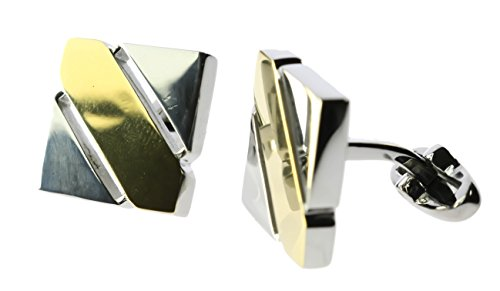 18k Square Cufflinks (Two Tone Open Square Cuff Links 18K White / Yellow Gold Overlay ALA1249)