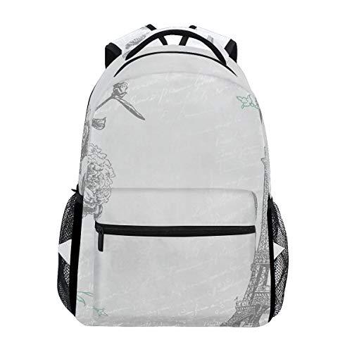 - Women/Man Canvas Backpack Printable Paris Clip Art Vintage College School Shoulder Bag fof Kids