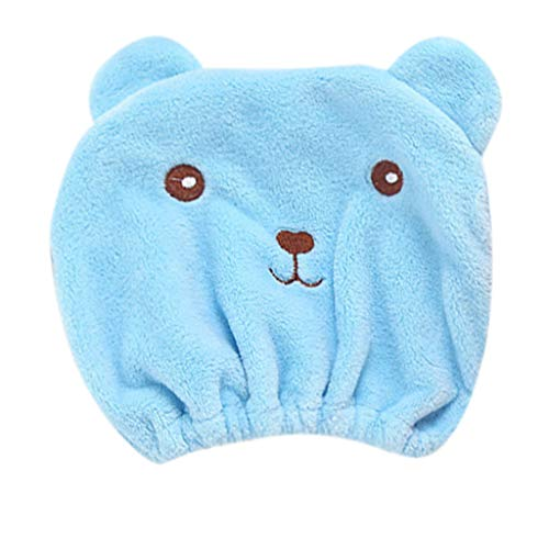Animal Dry Hair Cap Women's Sports Headband Thickening Absorbent Shower Hat Blue]()