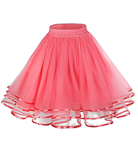 LaceLady Vintage Petticoat Halloween Tutu Underskirt Crinoline Dance Slip with Belt Coral S