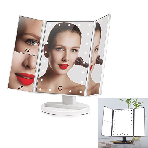 Adealink 180 Degree Rotation Screen Folding Make up Mirrors With 24 LED Lights Pocket Mirror Makeup Tools White