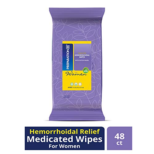 Preparation H Women's Flushable Medicated Hemorrhoid Wipes, Burning and Itching Relief with Cucumber, Aloe, Vitamin E, Shea Butter and Chamomile, Package (48 Count)