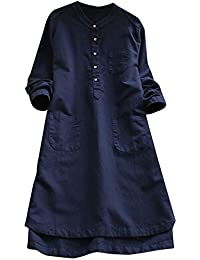 Women Linen Loose Dress Boho Long Sleeve Pockets Button Dress Blouse Tops T-Shirt Long