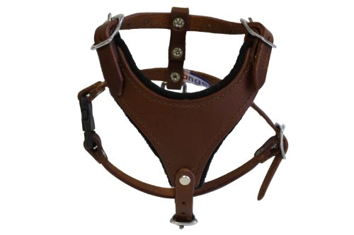leather-dog-harness-felt-padded-x-small-brown-argentinean-leather-malibu-for-x-small-breeds-neck-siz