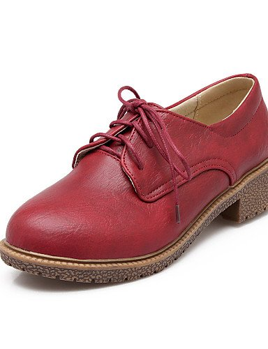 uk3 mujer us5 eu39 cn39 y eu39 Trabajo Oxfords red Oficina Amarillo Punta uk6 cn39 eu36 us8 Zapatos 5 Tacón gray Redonda Gris Rojo Vestido gray uk6 us8 Robusto cn35 5 Semicuero ZQ de pzqEA4wUp
