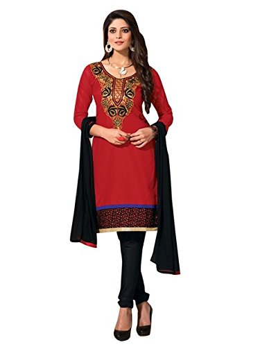 Vibes Womens Cotton Patch Work Straight Dress Material (V267-6 _Red _Free Size)