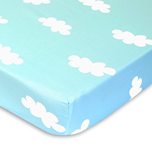 Blue and White Clouds - 100% Cotton Percale Fitted Crib Sheet - Soft Nursery Bedding for Boys / Girls - TOP QUALITY Infant & Toddler Bed Sheets for Christmas and Baby Shower Gift by Cuddly Cubs