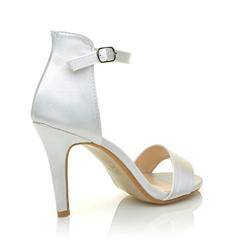 ShuWish UK PAM White Satin Ankle Strap Barely There Bridal High Heel Sandals WsiTSo8g4