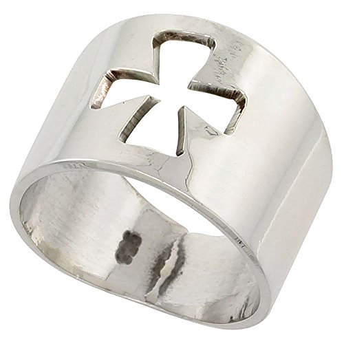 Sterling Silver Cigar Band Cross Ring Handmade 5/8 inch wide, size (Sterling Silver Cigar Band Ring)