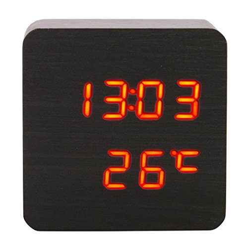 Sttech1 Portable Temperature Display Sounds Control LED Electronic Desktop Digital Creative Wooden Alarm Clock for Heavey Sleepers (I Black Wood Red Light)