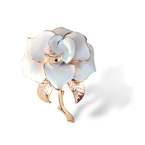 METTU Rose Gold Flower Brooch Black White Rose Petals Brooches & Pins Women ()