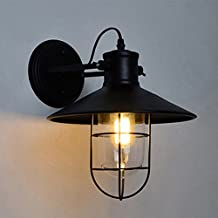 Minimalist Vintage Wall Light, MKLOT Ecopower Retro Industrial Edison Wrought Iron Mini Wire Cage Wall Sconce Iron Shade Plug-in Wall Lamps Sconce Fixtures for Loft Bar Pub Hotel Bedroom Black