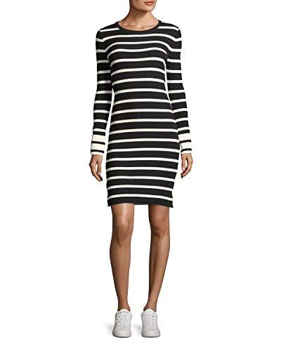 Theory Women's Prosecco Striped Crewneck Fitted Sheath Dress, Black/Eggshell, Medium (Theory Striped Sweater)
