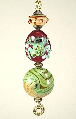 Pet Frog for Animal Lovers in Amber & Green Light or Ceiling Fan Pull with Lampwork Glass