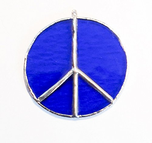 3'' Blue Stained Glass Peace Sign Sun Catcher or Ornament
