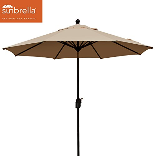 EliteShade Sunbrella 9Ft Market Umbrella Patio Outdoor Table Umbrella with Ventilation (Sunbrella Heather Beige)