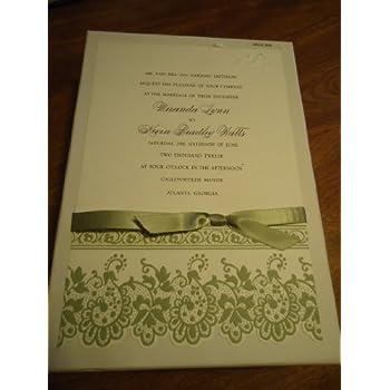 Amazon.com: Anna Griffin Green & Cream Formal Invitations Wedding 25 ...