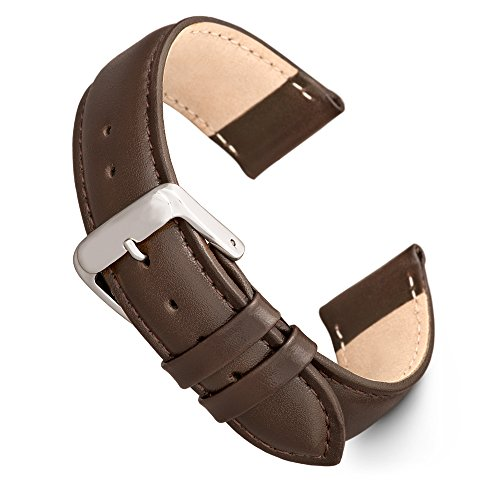 Speidel Genuine Leather Watch Band 18mm Brown Calf Skin Replacement Strap, Stainless Steel Metal Buckle Clasp, Watchband Fits Most Watch Brands ()