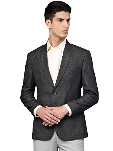 Vastraa Fusion Men's Single Breasted Regular Fit Blazer (VS1504- Dark Grey_40)