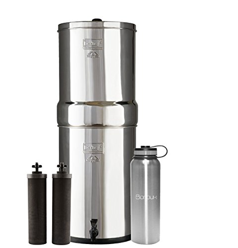 Crown Berkey Water Filter System includes Black filters (6 Gallons) bundled with Boroux 40 oz Stainless Steel Double Wall Bottle by Boroux