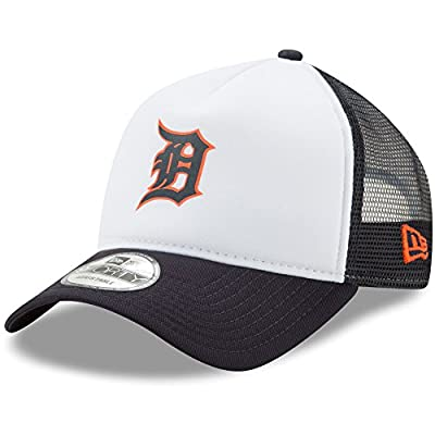 Detroit Tigers New Era Trucker Hit A-Frame 9FORTY Adjustable Snapback Hat White/Navy