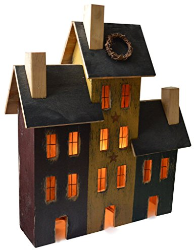 (Furniture Barn USA American Primitive Rustic Light Up Saltbox House - Delancey Trio of 3 Houses - Multiple Paint Options!)