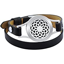 25mm Essential Oil Diffuser Bracelet Stainless Steel Locket Genuine Leather Band with 15 Felt Pads (Black Leather)