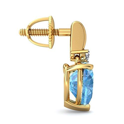 Or jaune 18K 0,04CT TW White-diamond (IJ | SI) et topaze bleue Pendants d'oreilles
