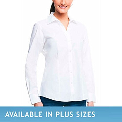 Foxcroft Ladies Long Sleeve Johnny Collar Shirt Medium White