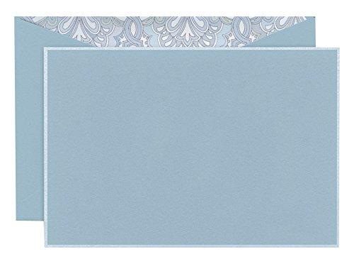Crane White Bordered Correspondence Card, Dalton Blue (CC3784)
