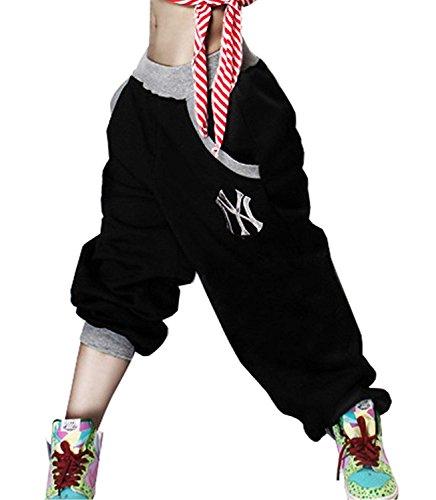 Primaverile Libero Eleganti Vita Tendenza Donna Femminile Pantaloni Tempo Nero Lunga Trousers Hop Hip Pantaloni Jogging Con Elastica Baggy Estivi Moda Tasche Tuta Nahen Costume Taille Pantaloni r5qrHn