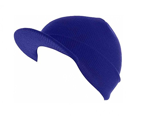 Royal Blue_(US Seller)Skull Unisex Visor Beanies Hat Ski Cap - Sunglasses Band After Dark