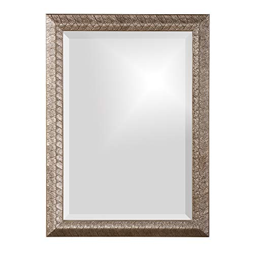 (Howard Elliott Malia Mirror, Etched Wood Frame, Accent Hanging Wall Mirror, Silver Leaf )
